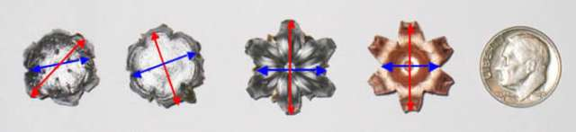 Medida del diámetro de proyectiles de pistola calibre .40