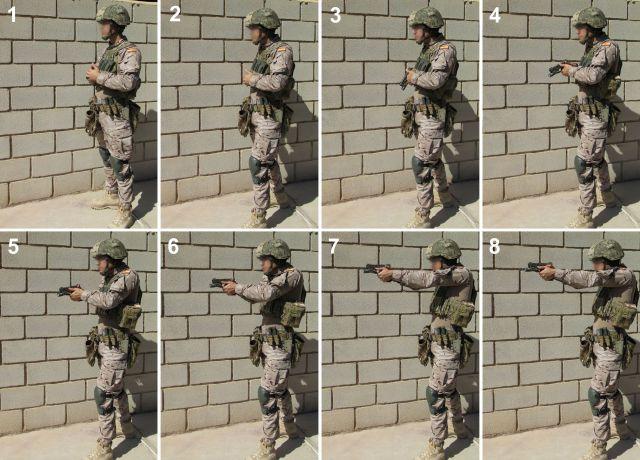 Secuencia de extracción, posición/postura y empuñe del arma. Obsérvese el detalle de que el dedo sólo va al disparador una vez los elementos de puntería están a la altura de los ojos