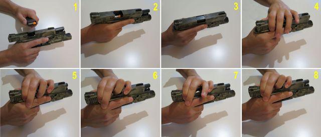 Secuencia de comprobación de la recámara por el método Press Check.