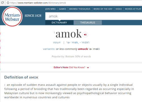 Merriam-Webster amok