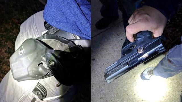 Disparo que impacta en la funda pistolera y en la pistola