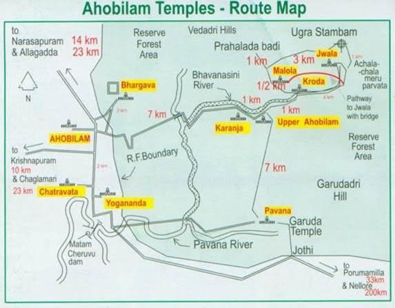 ahobilam temples route map