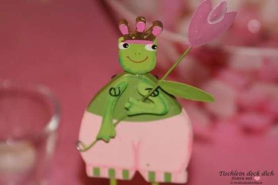 Froschpaerchen rosa gruen für Tischdeko Kindergeburtstag 2