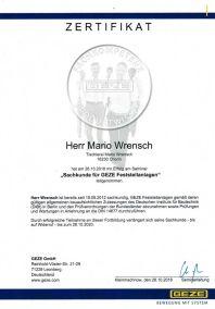 Sachkunde für GEZE Festellanlagen - Mario Wrensch