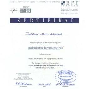 Qualifizierter Türenfachbetrieb BFT - Tischlerei Mario Wrensch