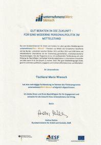 Zertifikat-UnternehmensWertMensch - Tischlerei Mario Wrensch