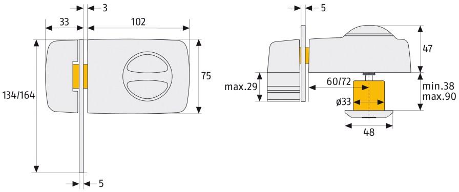 Tür Zusatzschloss 7030 Technische Zeichnung
