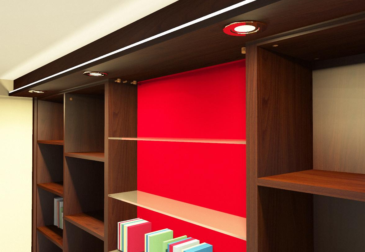 Einbauschrank mit rot lackierter Glasrückwand