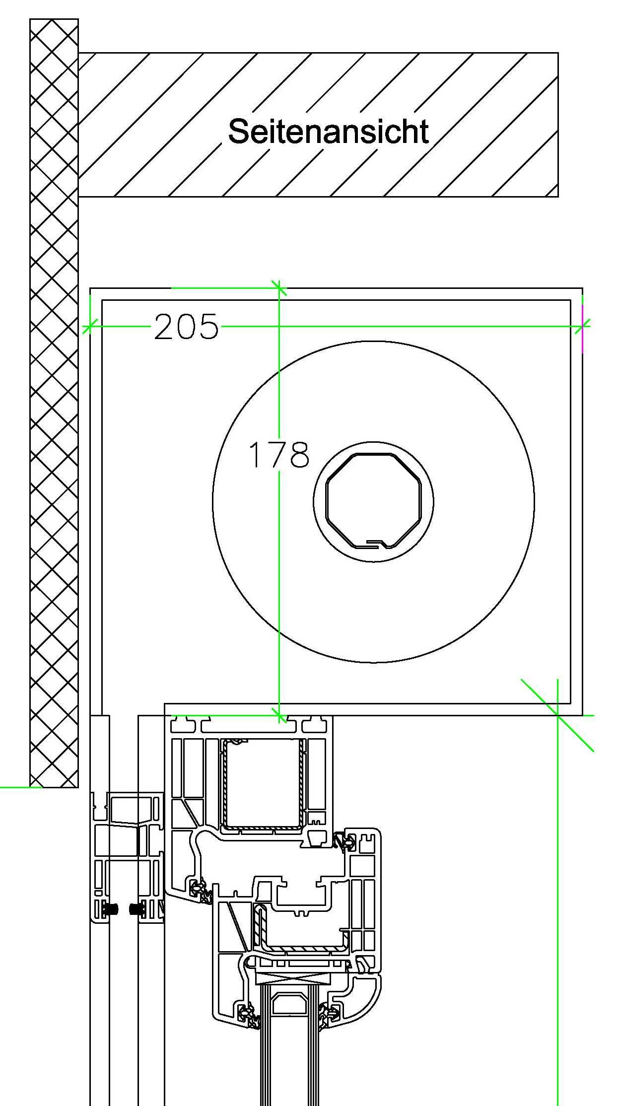 Detailplanung: Querschnitt Fenster oben mit Aufsatz- Rolladenkasten