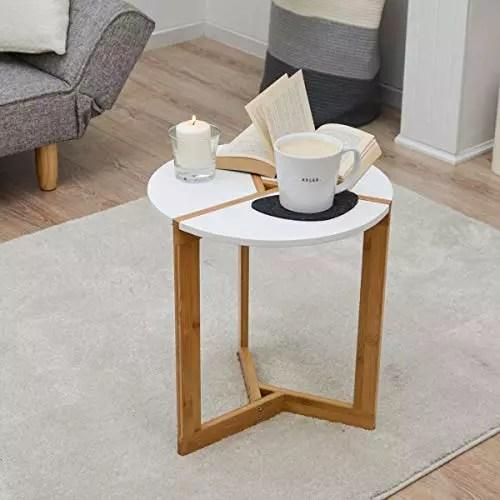 dunedesign nordic style beistelltisch 40 x 45 cm holz tisch rund couchtisch nachttisch weiss