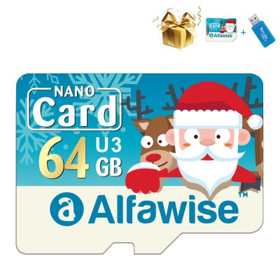 Alfawise Christmas Fun Edition Micro SD TF Card 3 In 1 64GB High Speed Memory Card Pack 1