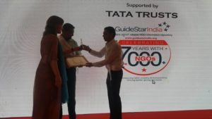 Shafkat accepts Guide Star India Award for Most Reliable NGO. September 27th 2016