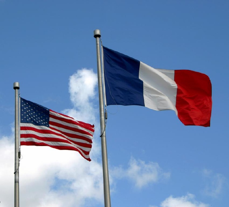 American/French flags