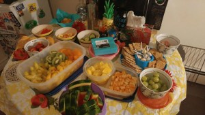 Snacks all set up for the party.