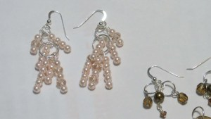 Pink pearl & crystal earrings.