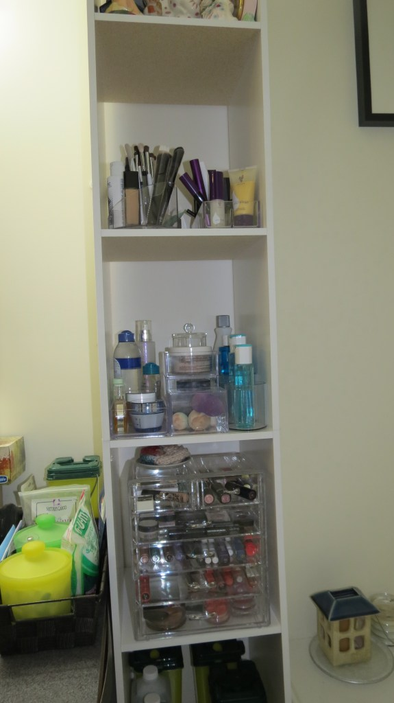 Makeup is easy to find, and neatly organized