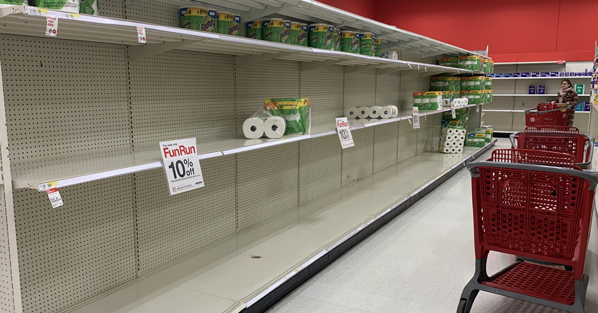 , Why did the stores run out of toilet paper?