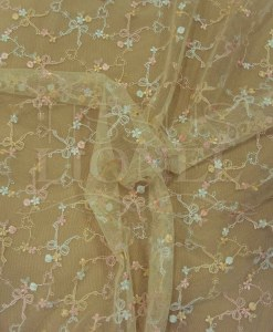 Embroidered tulle pale yellow, pink and white