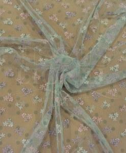 Тюль вышитые бледно-зеленый и розовый
