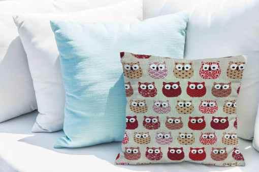 Tissu coton motif imprimé Hibou rouge