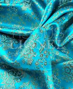 lurex jacquard turquoise and gold