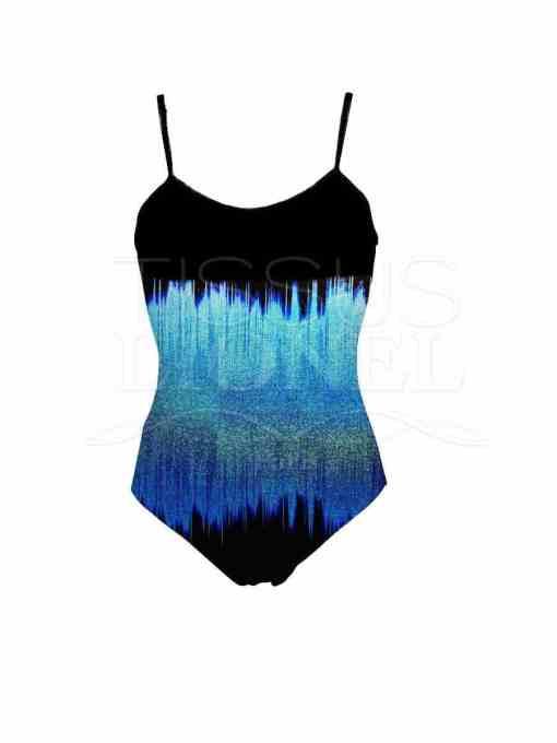 Lycra imprimé ondes sonore dégradé turquoise