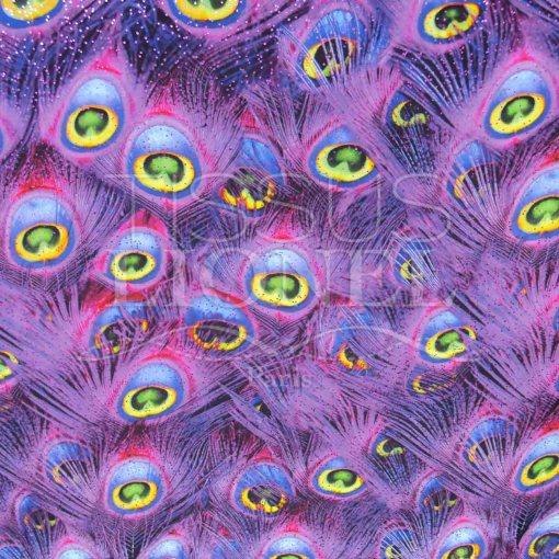 lycra imprimé pailleté plumes de pan violet