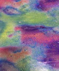 Lycra imprimé pailleté galaxie multicolors