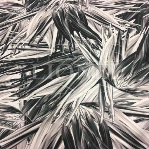 Lycra imprimé tropical noir et blanc