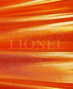 lycra pailleté multipoint fond orange fluo pailleté or