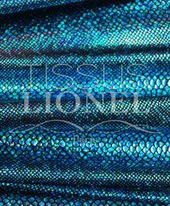 lycra pailleté serpent fond noir pailleté turquoise hologramme