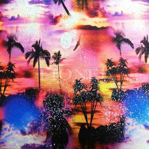 Lycra imprimé pailleté Miami