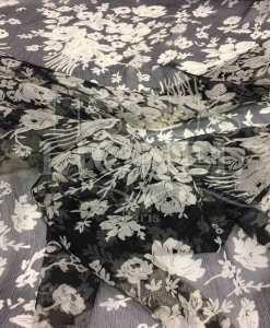 Mousseline de soie fleurs de printemps noir et blanc