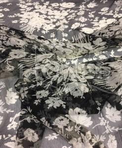 Frühling Chiffon Blumen schwarz und weiß