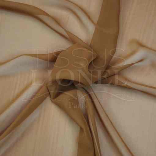 mousseline uni marron caramel