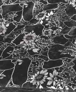 crushed velvet black and silver flower