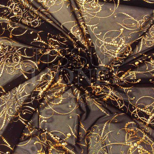 resille lycra noir pailleté arabesque or hologramme