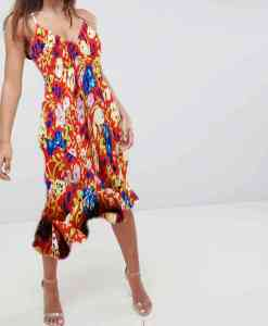 robe 3 Tissu microfibre motif jardin printanier rouge coquelicot