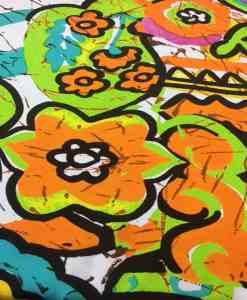 Satin de soie haute couture fleurs disco