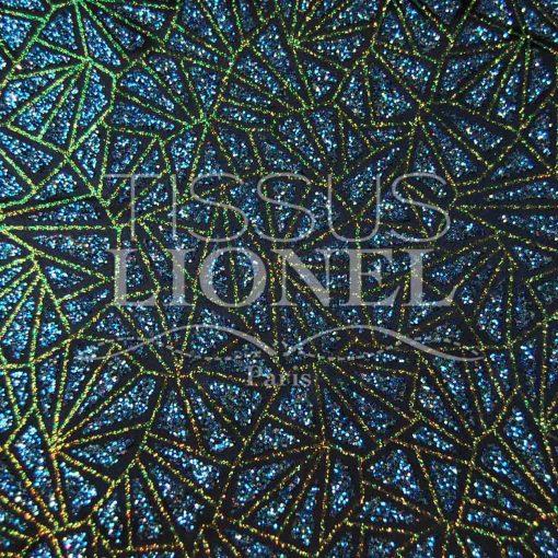 satin pailleté fond bleu marine pailleté turquoise irisé et or