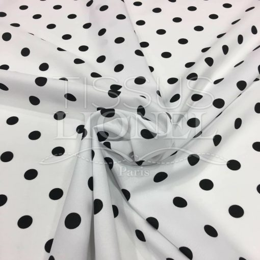 Tissu Burlington fond blanc petit pois noir