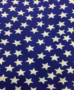 Tissu Burlington fond bleu étoile blanche