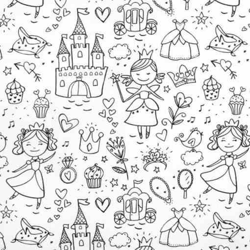Tissu coton à colorier princesse