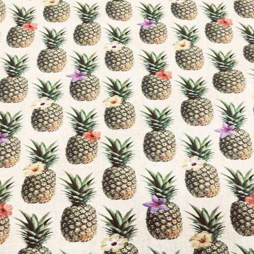 Tissu coton ananas fleuris