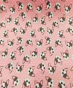 Tissu coton bulldog fond rose