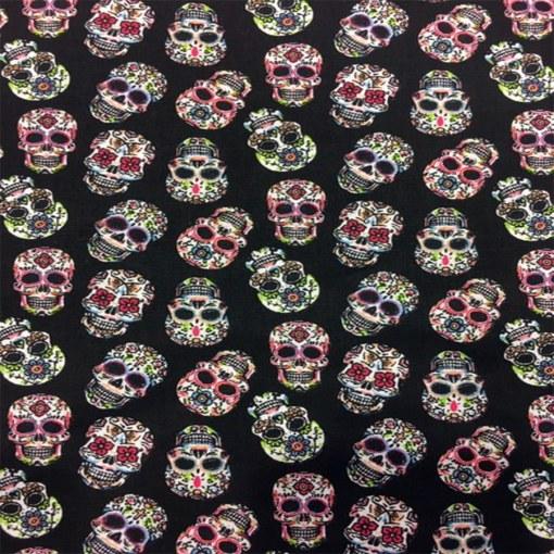 Tissu coton calavera multicolors fond noir