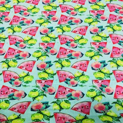 Tissu coton citron pastèque
