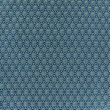 Tissu coton imprimé motif cube géométrique bleu
