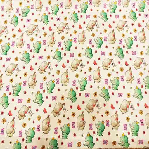 Tissu coton éléphant