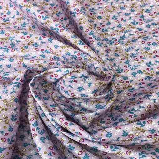 Tissu coton fleurs d'automne bois de rose